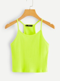 Neon Lime Rib-knit Halter Top
