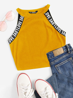 Lettering Tape Side Halter Top