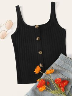 Button Front Rib-knit Top