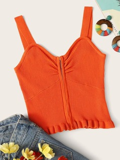 Neon Orange Zip Front Ruffle Hem Top