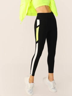 High Waist Neon Side Stripe Stretch Leggings