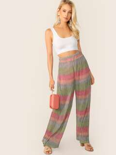 Wide Leg Pleated Shimmer Stripe Pants