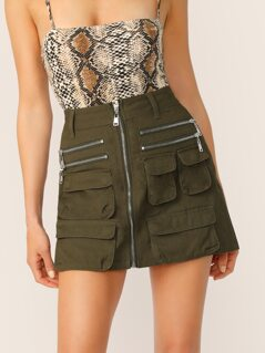 Zip Front Cargo Pocket Twill Mini Skirt