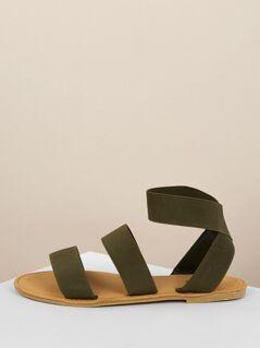 Elastic Band Gladiator Flat Sandals