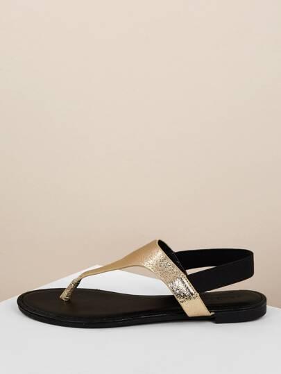 Metallic Gold Slingback Thong Sandals