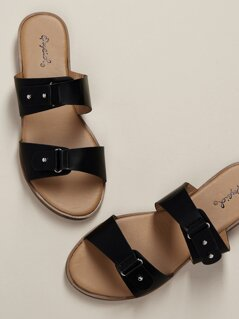Two Band Flat Slide Sandals
