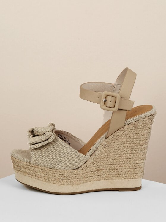 b30b5b47a15 Tie Front Open Toe Platform Jute Wedge Sandals