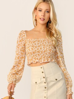 Ditsy Floral Frill Edge Shirred Crop Top