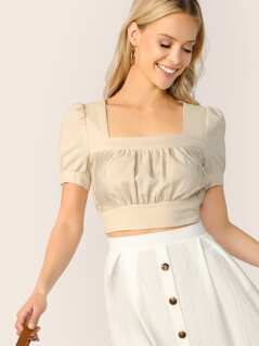 Square Neck Crinkle Front Shirred Panel Crop Top