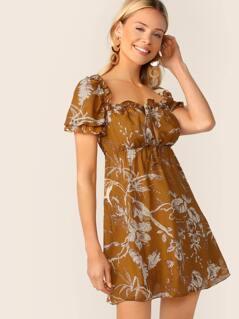 Tie Neck Frill Trim Botanical Print Dress
