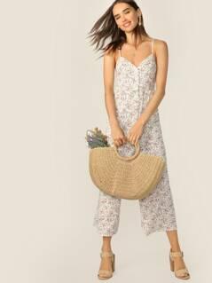 Ditsy Floral Button Front Wide Leg Cami Jumpsuit