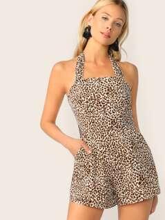 Leopard Print Tie Back Halter Romper