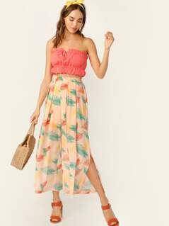 Leaves Print Slit Side Pleated Palazzo Pants