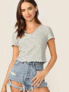 Ruched Front Lettuce Edge Striped Tee