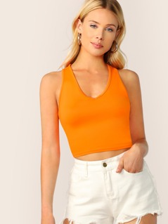 Neon Orange Slim Fitted Crop Tank Top