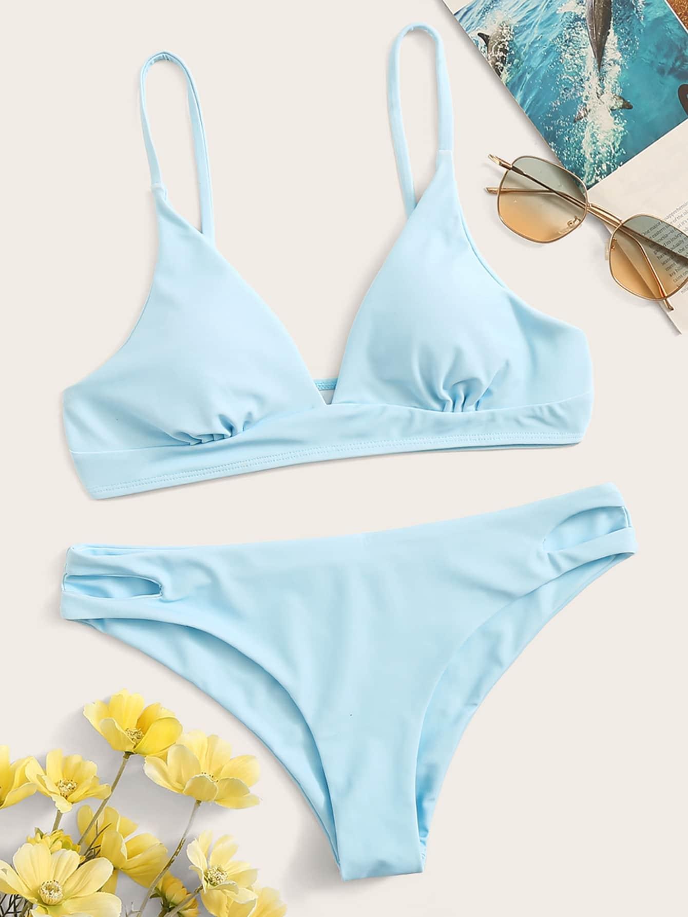 Фото - Бикини со сборками и разрезом на плавках от SheIn синего цвета