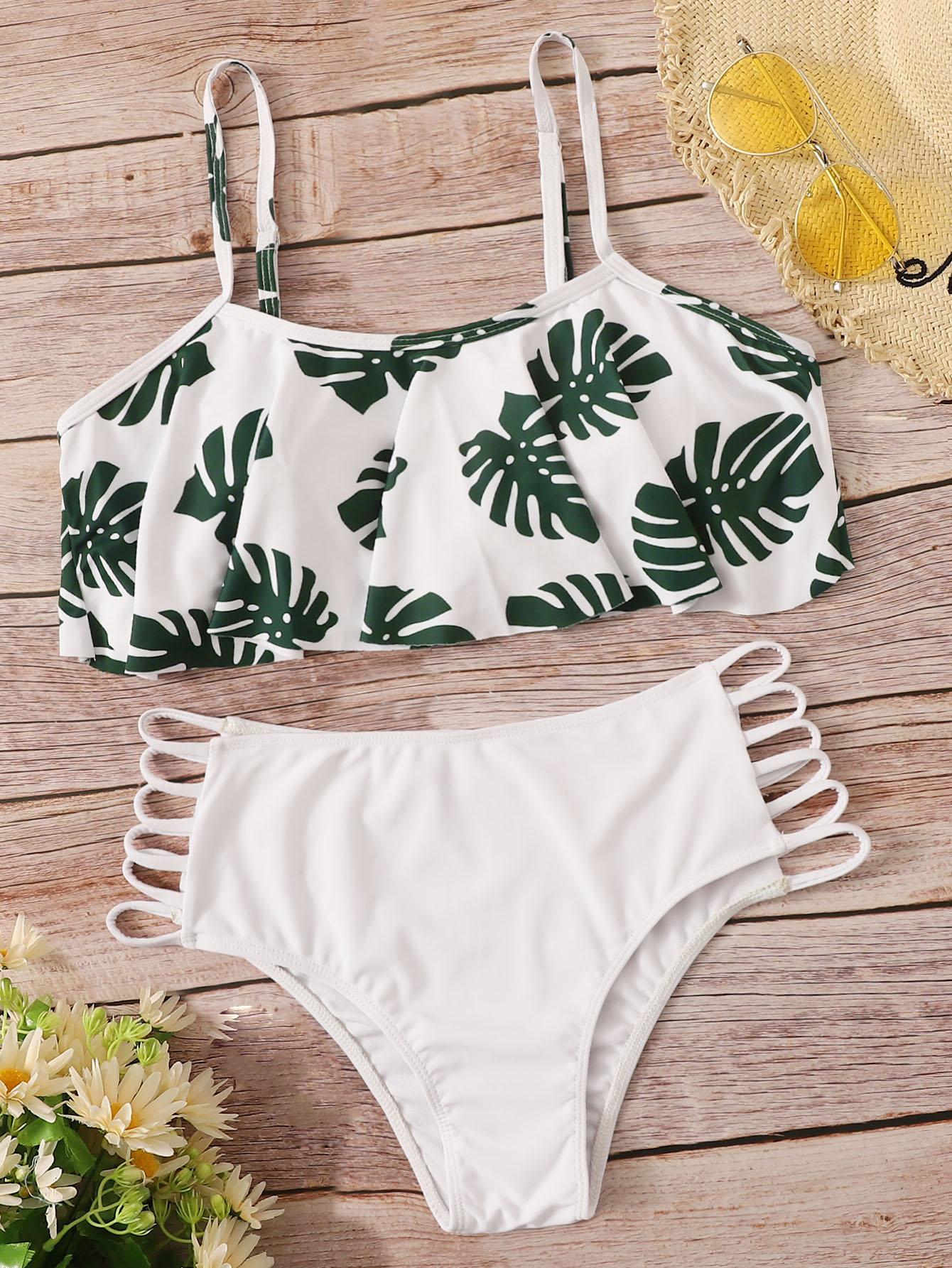 Фото - Бикини с пальмовым принтом и вырезами на плавках от SheIn белого цвета