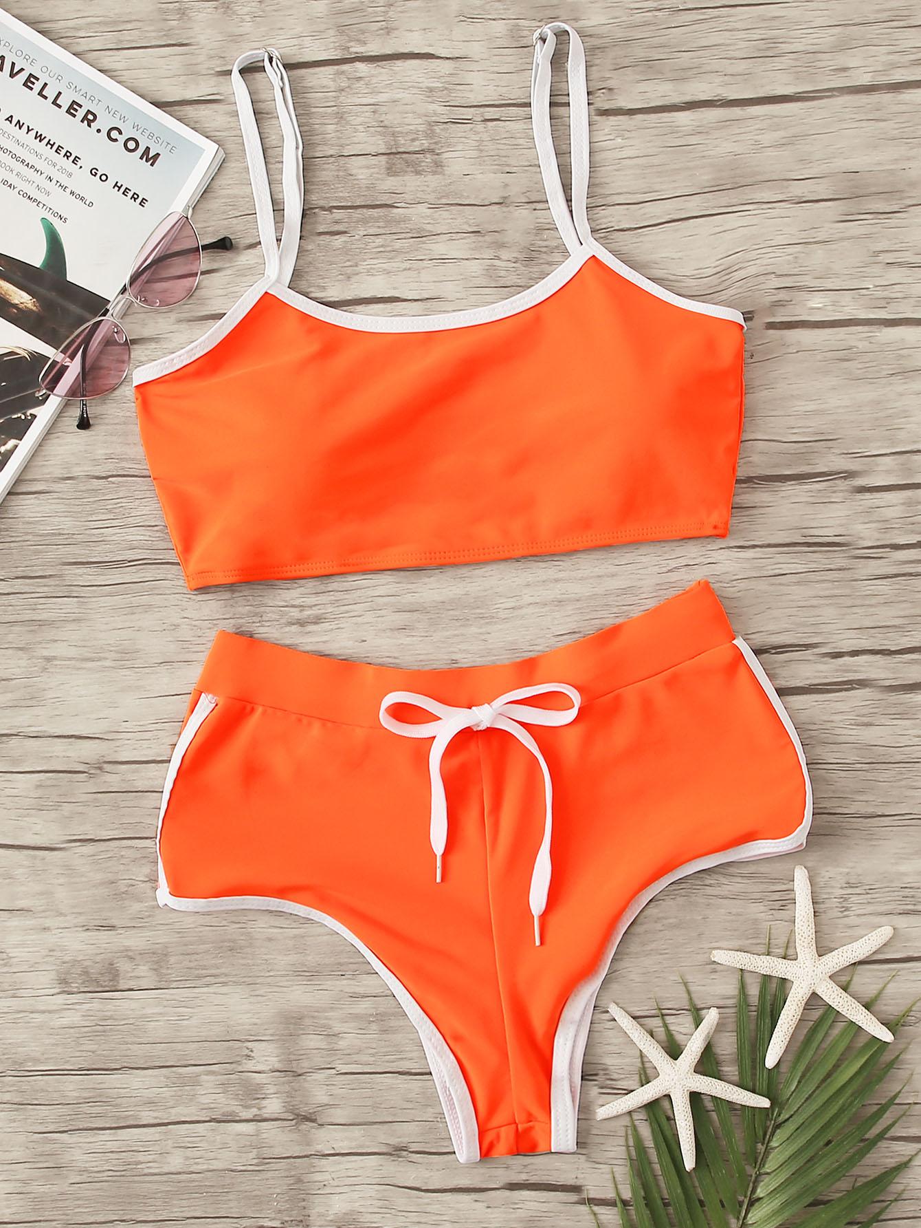 Фото - Бикини на кулиске с контрастной отделкой от SheIn оранжевого цвета