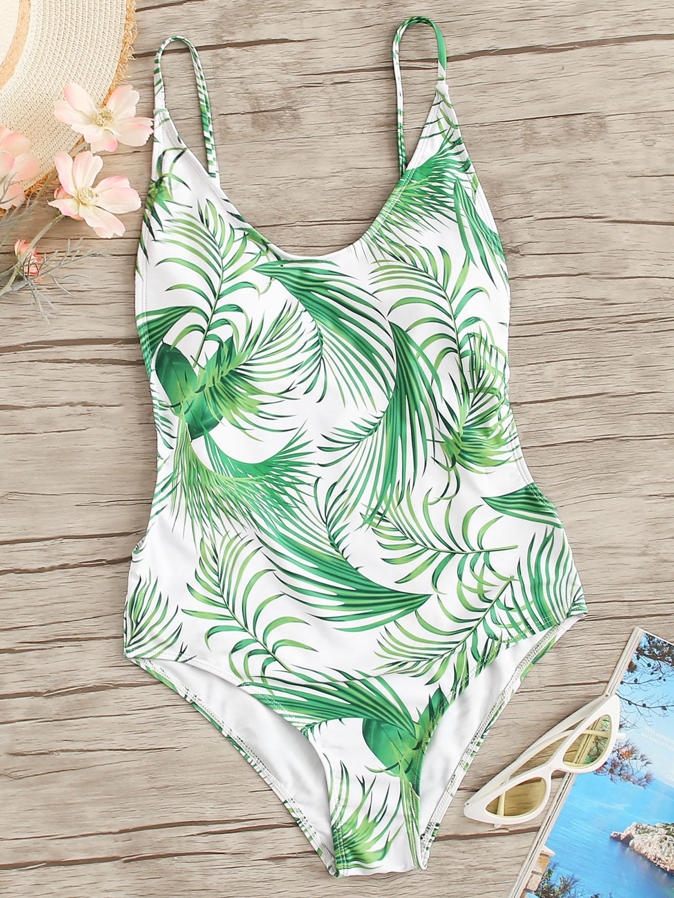 Фото - Слитный купальник с открытой спинкой и пальмовым принтом от SheIn цвет многоцветный