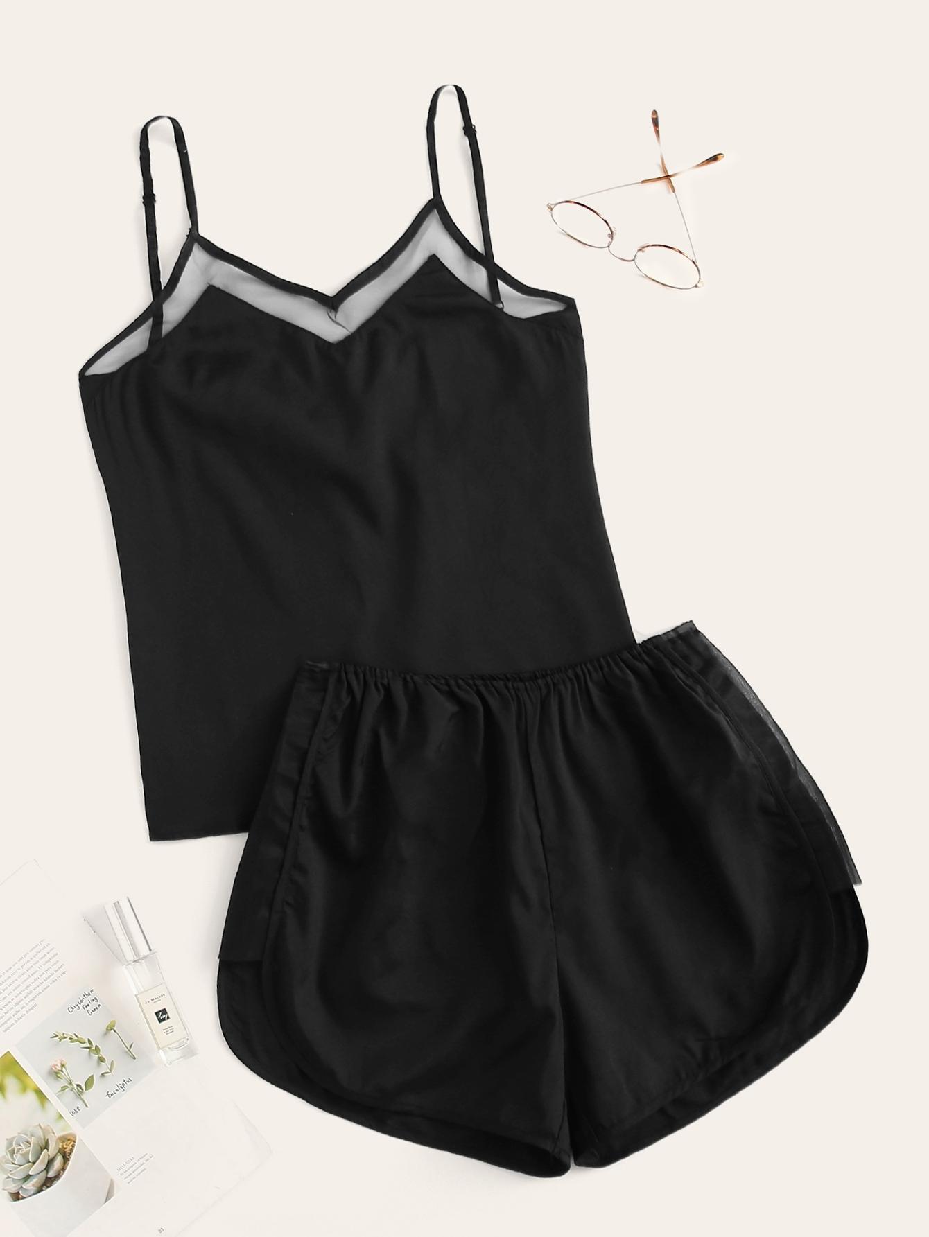 Фото - Комплект пижамы на бретелях со сеткой от SheIn цвет чёрные