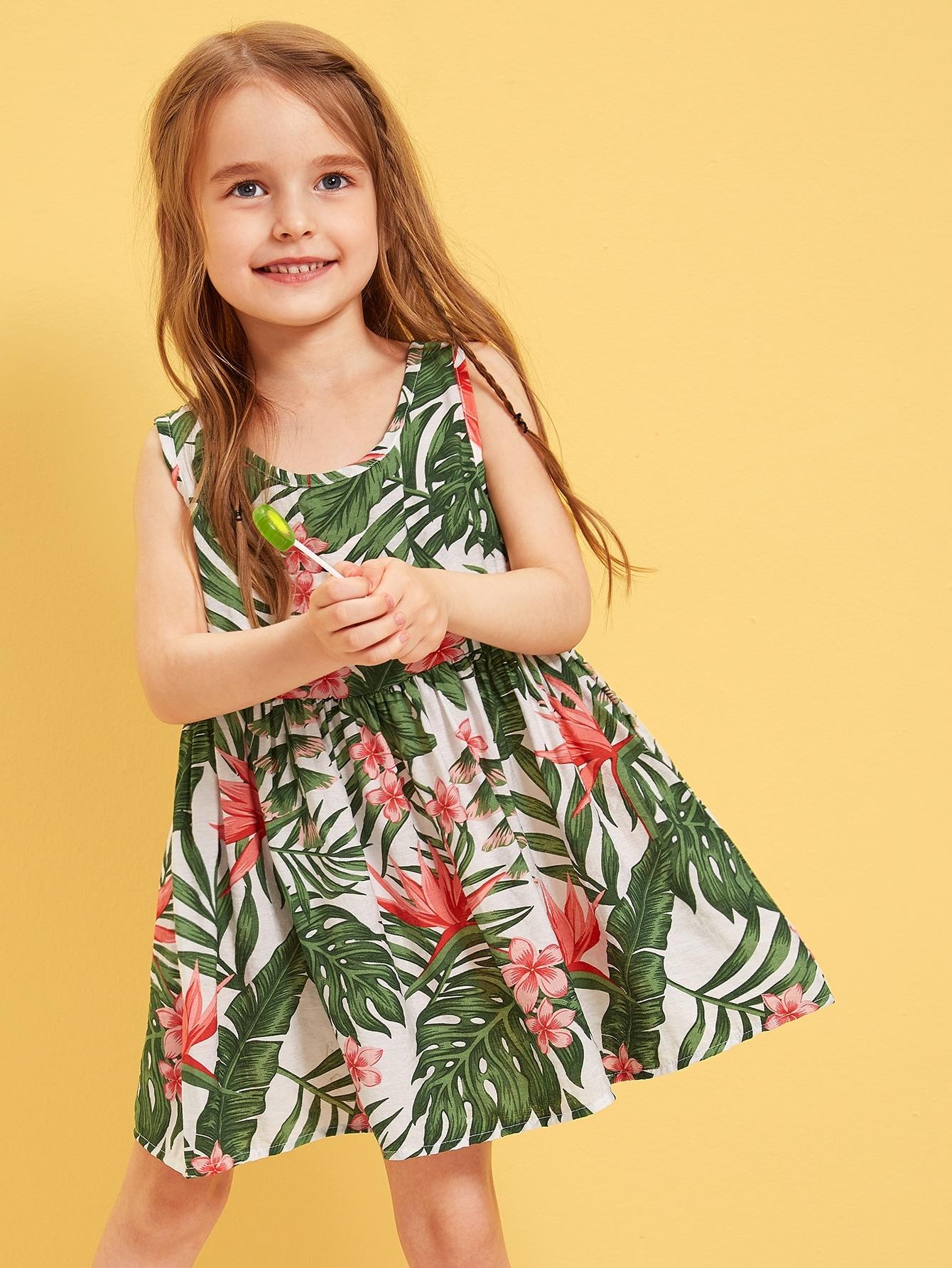Фото - Платье с тропическим принтом для девочек от SheIn цвет многоцветный