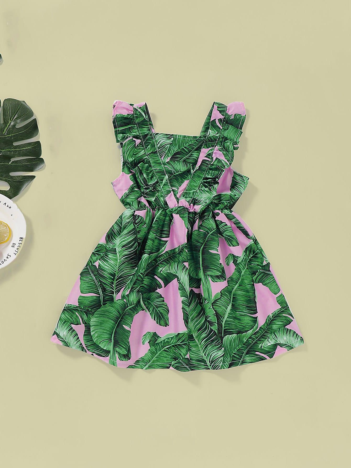 Фото - Платье с эластичной талией и тропическим принтом для девочек от SheIn цвет зелёные