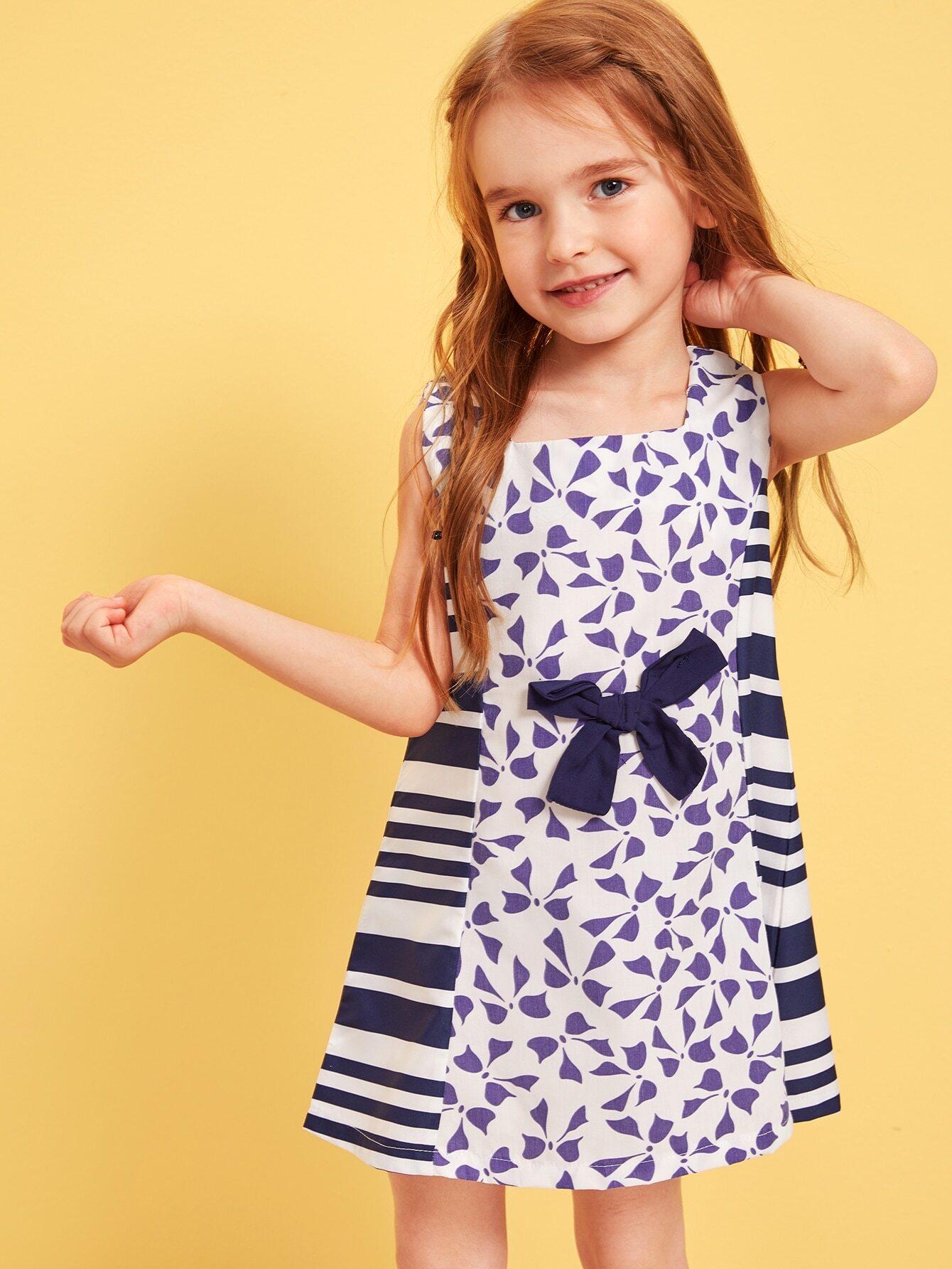 Фото - Платье с полосатым принтом и молнией для девочек от SheIn цвет многоцветный