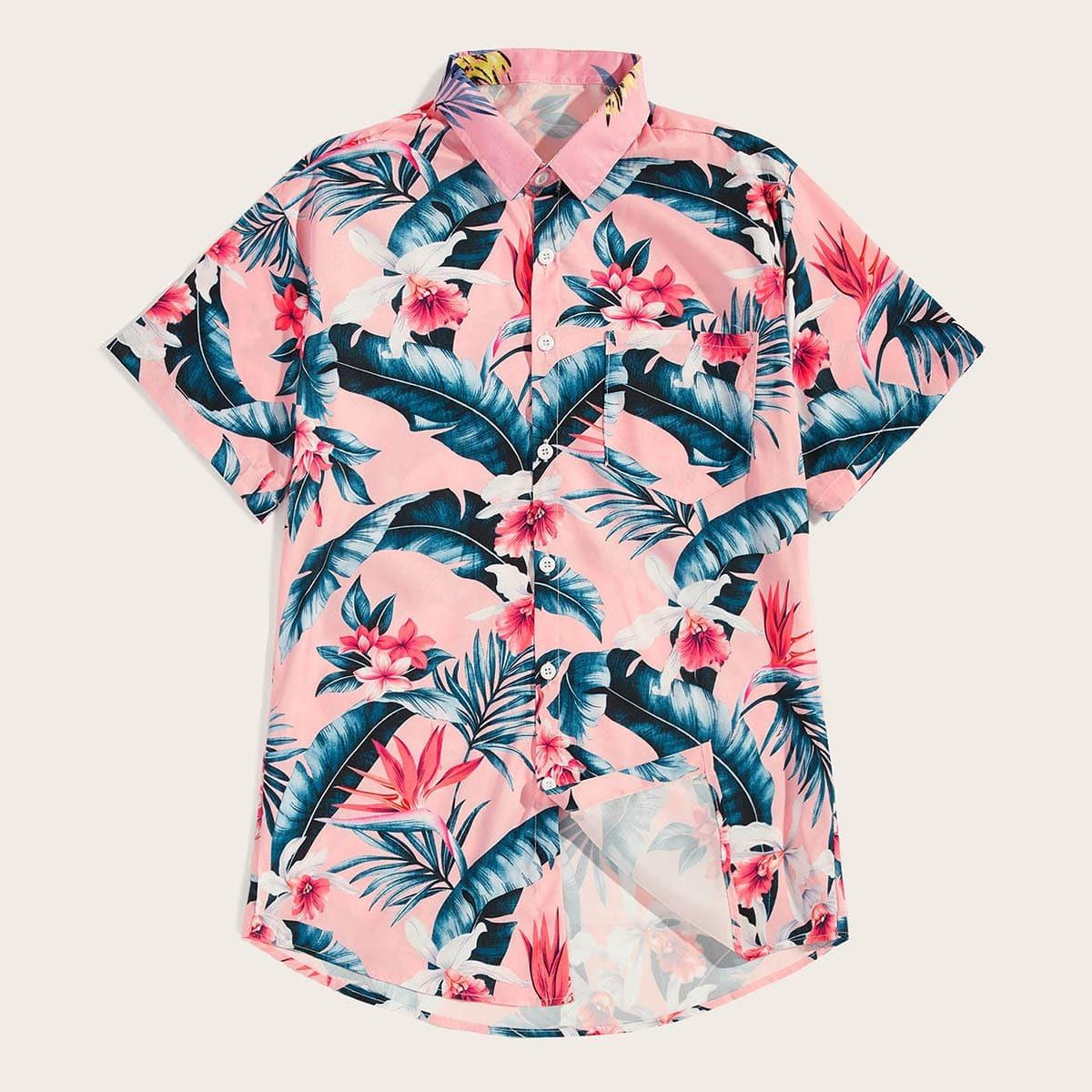 Roze  Boho Bloemen Overhemden voor heren