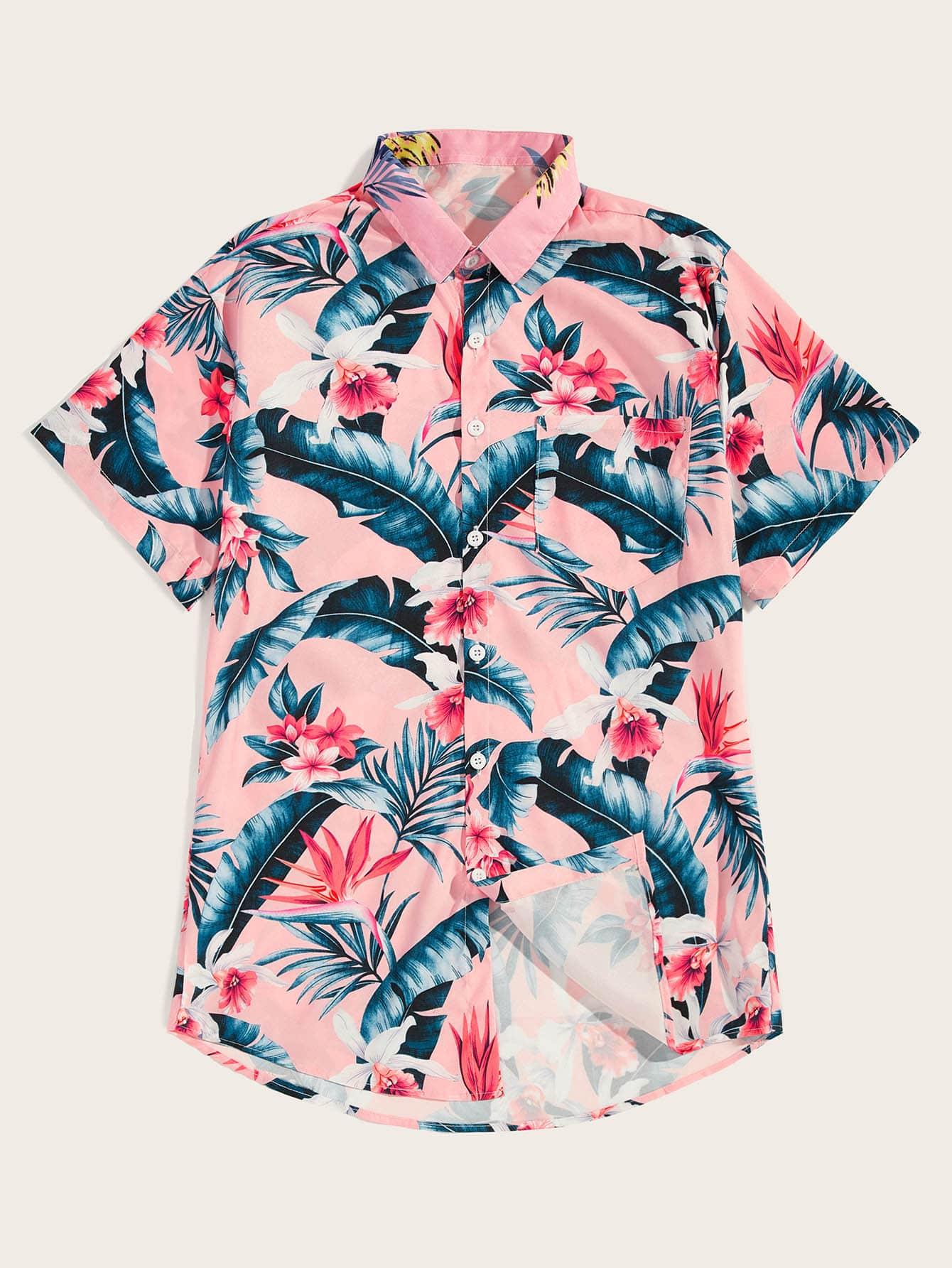 Фото - Мужская рубашка с тропическим цветочным принтом от SheIn розового цвета