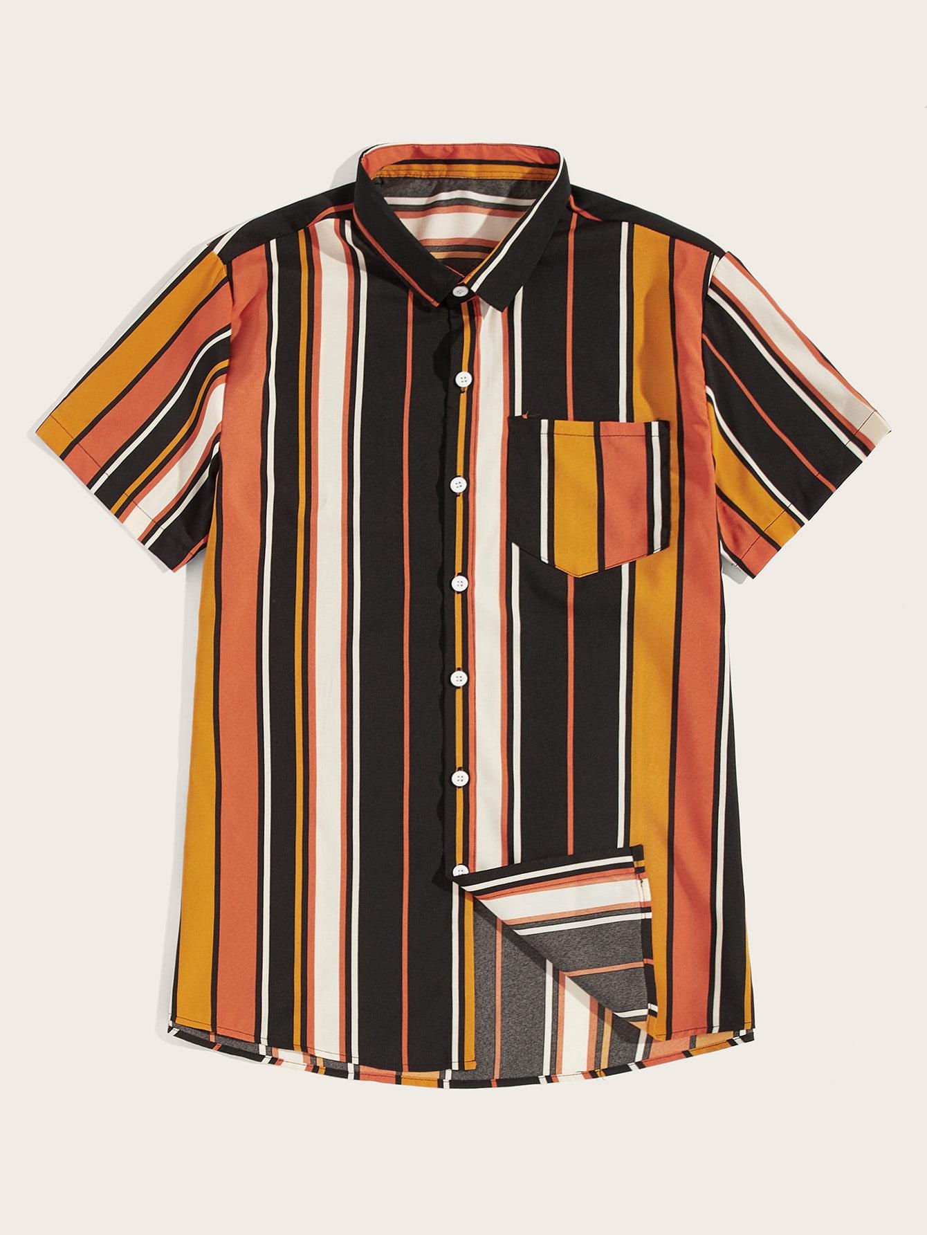 Фото - Мужская разноцветная полосатая  рубашка от SheIn цвет многоцветный