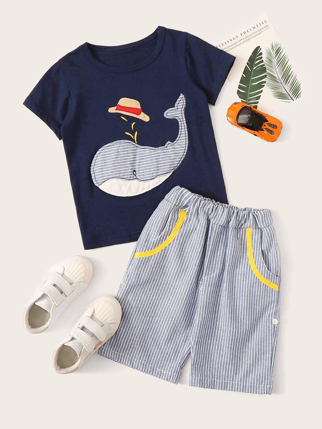 Фото - Футболку и полосатые шорты для мальчиков от SheIn цвет многоцветный