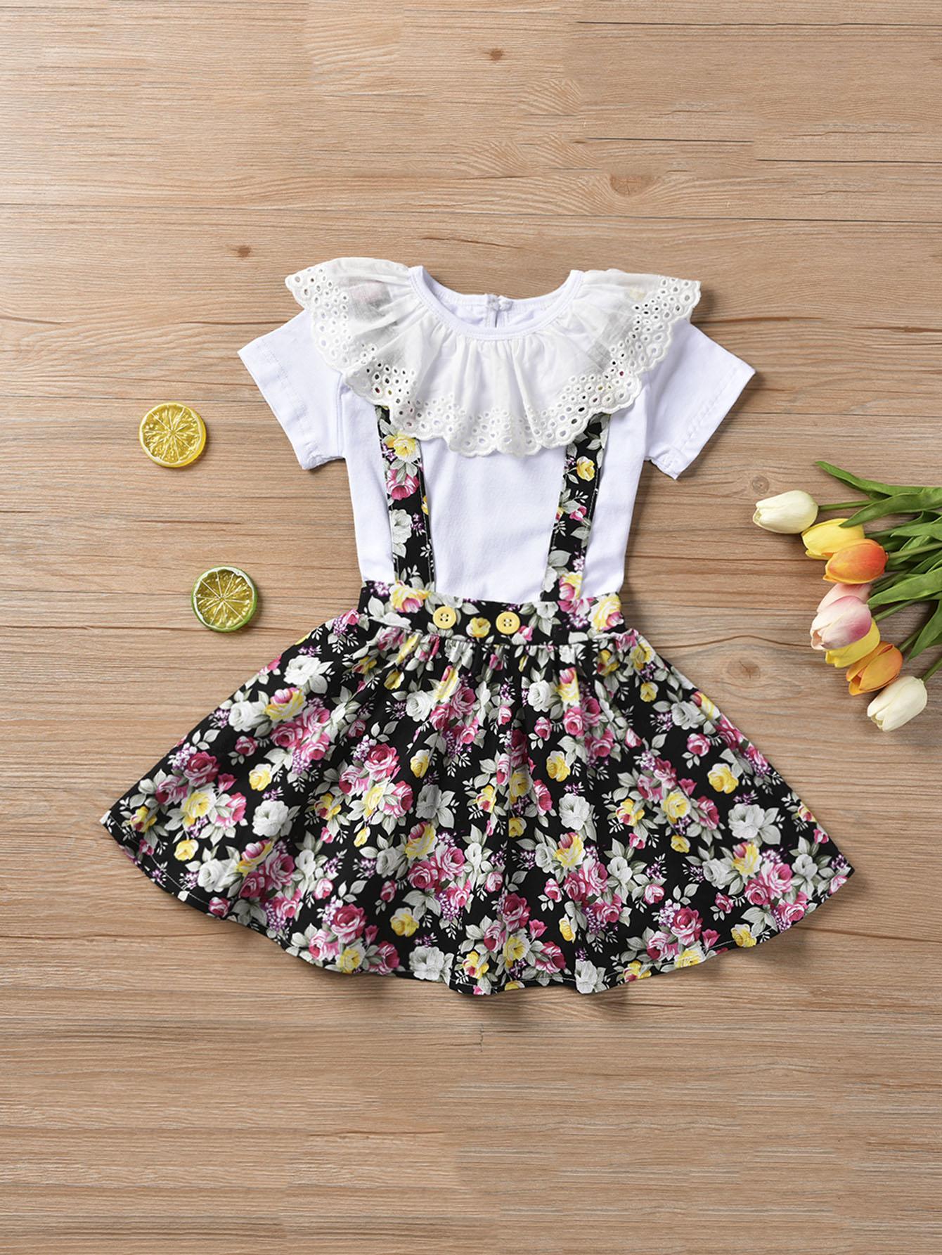 Фото - Футболку с кружевом, и юбка с цветочным принтом для девочек от SheIn цвет многоцветный
