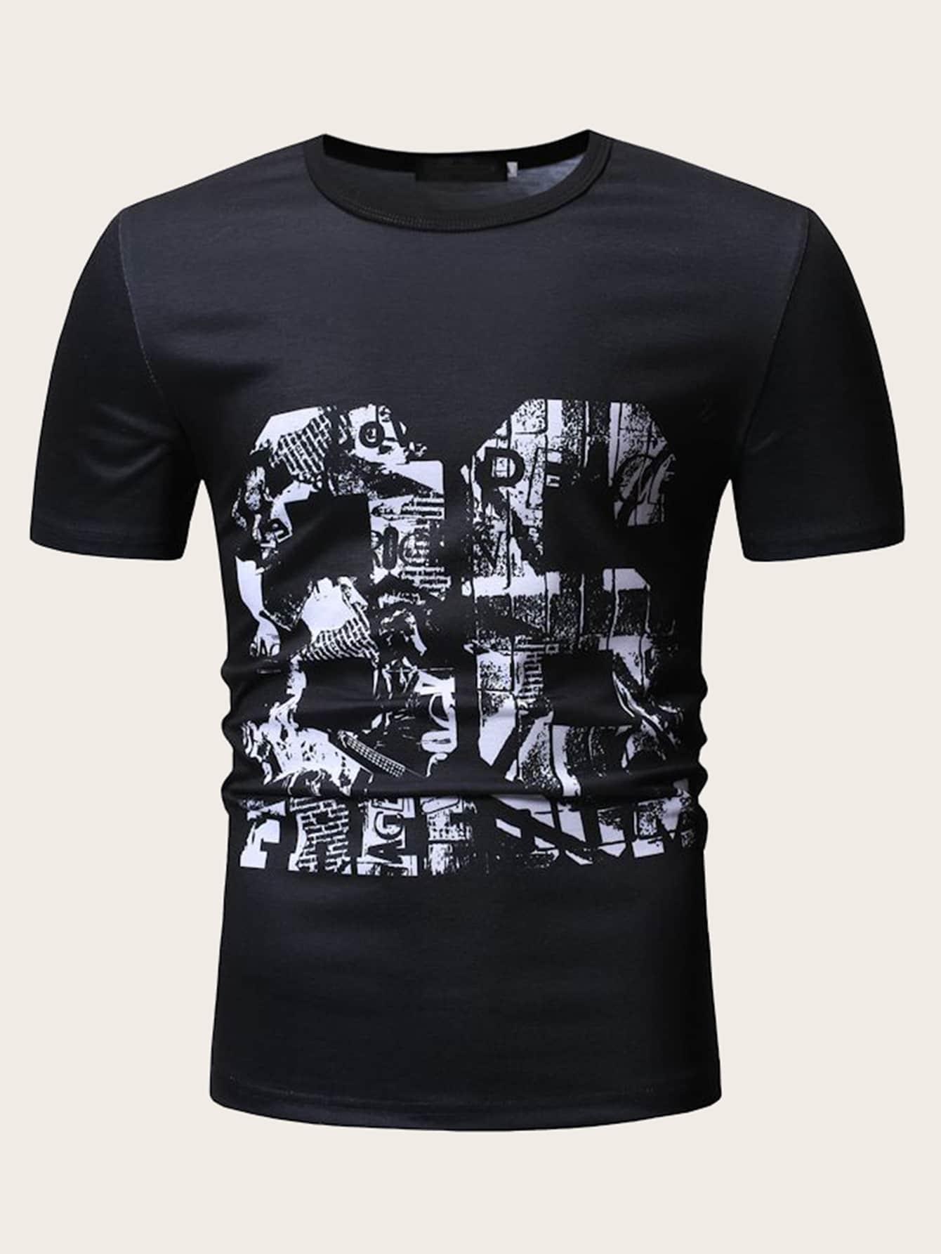 Фото - Мужская футболка с текстовым принтом от SheIn черного цвета