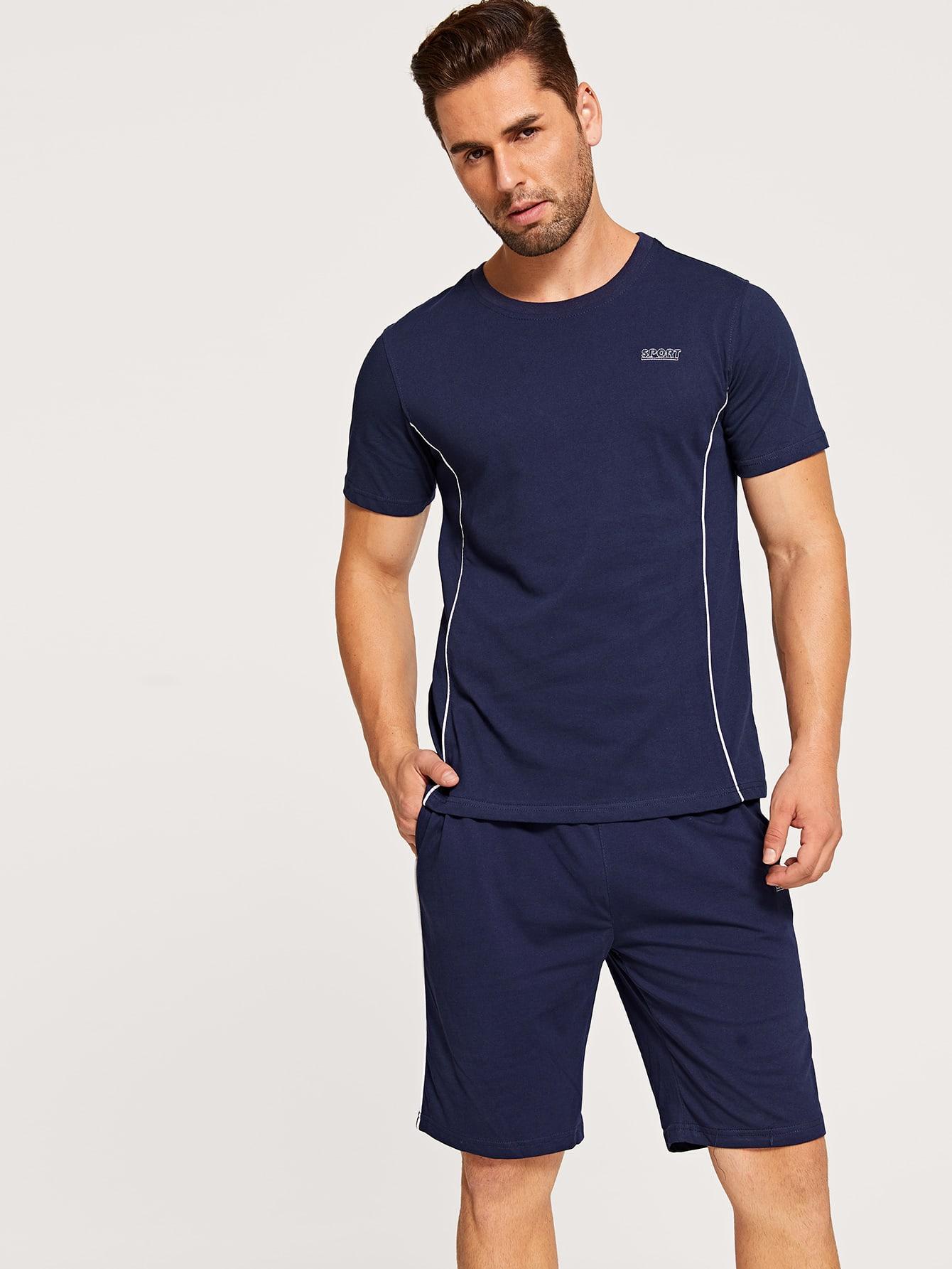Фото - Мужские шорты и футболка с текстовой вышивкой от SheIn цвет темно синий