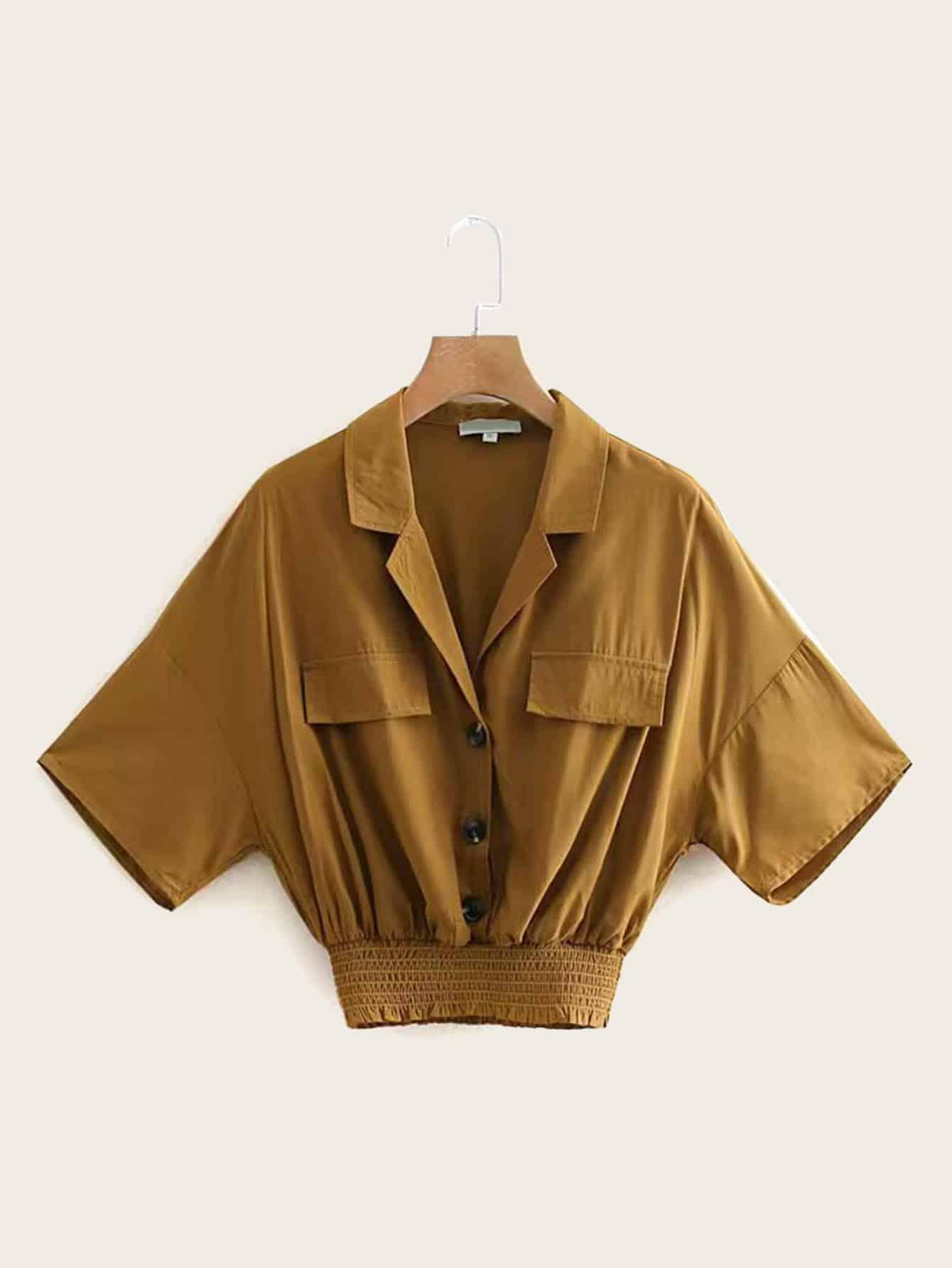 Фото - Блузку с двумя карманами от SheIn цвет желтовато бурый