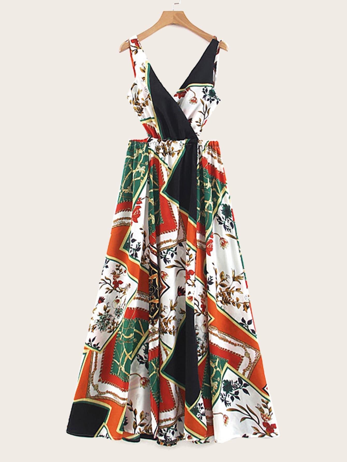 Фото - Платье макси с разрезом и модным принтом от SheIn цвет многоцветный