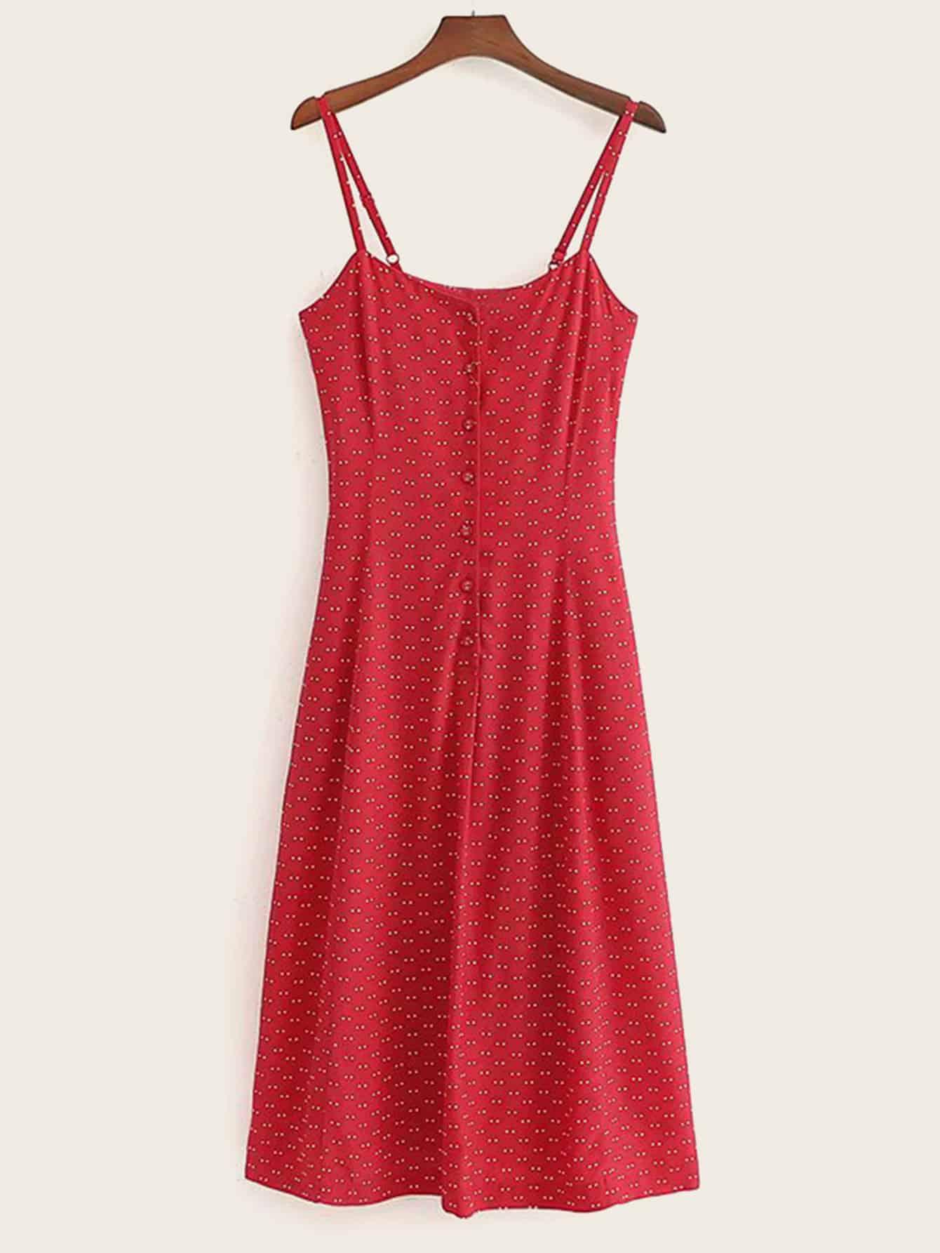Фото - Платье на бретелях в горошек с пуговицами от SheIn цвет красные