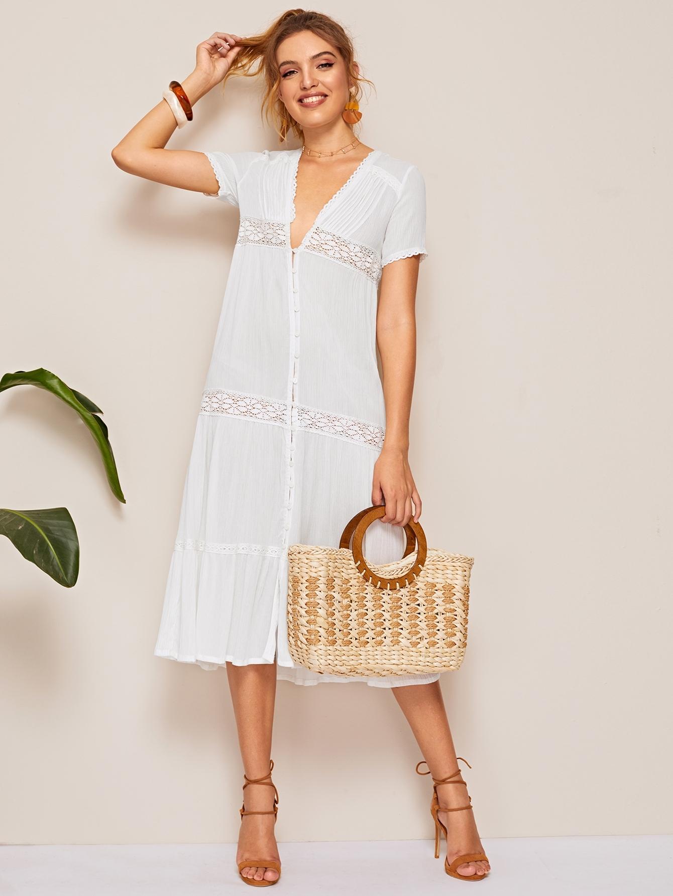 Фото - Платье с кружевной вставкой и пуговицами от SheIn цвет белые