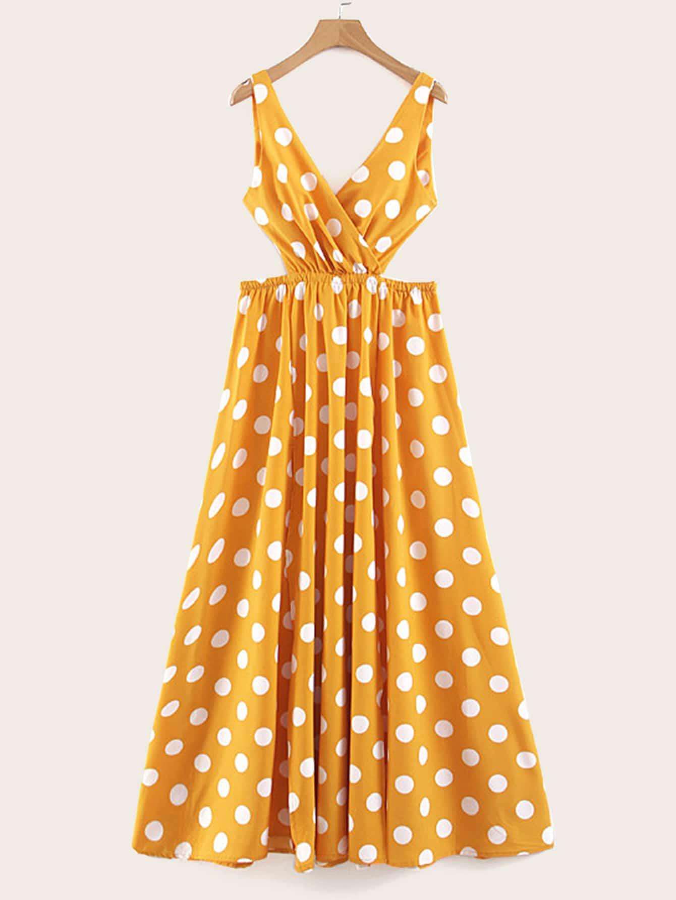 Фото - Платье макси в горошек с разрезом от SheIn цвет жёлтые