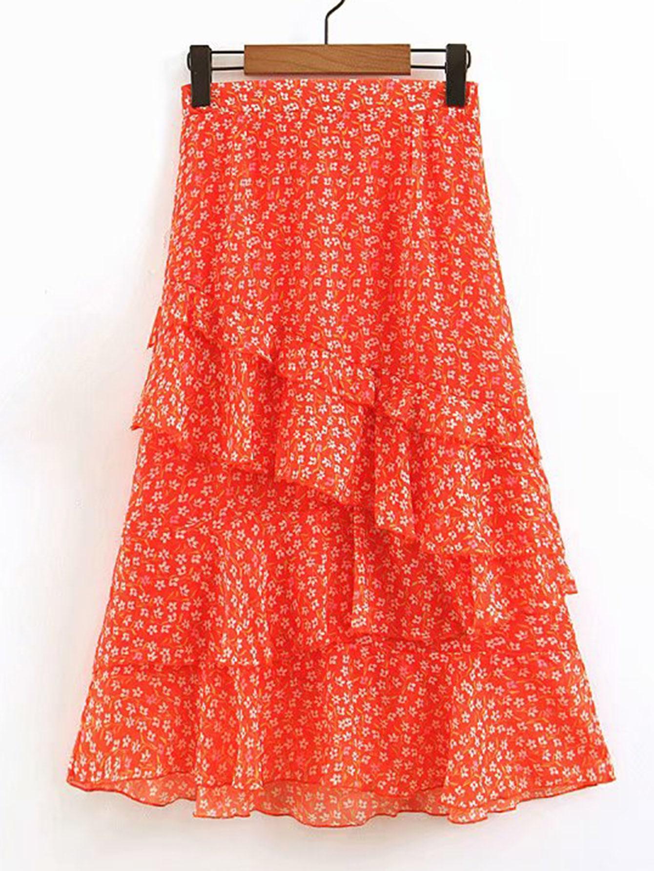 Фото - Цветочная юбка с многослойными оборками от SheIn оранжевого цвета