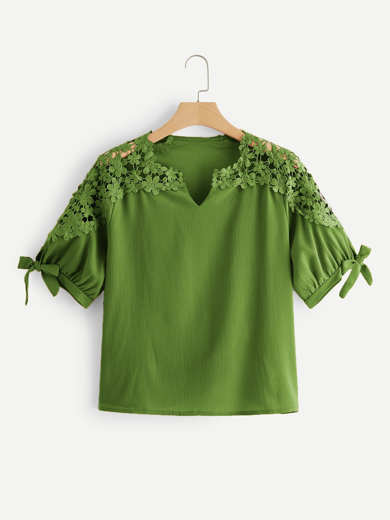 Фото - Кружевная блуза размера плюс с узлом на манжетах от SheIn цвет зелёные