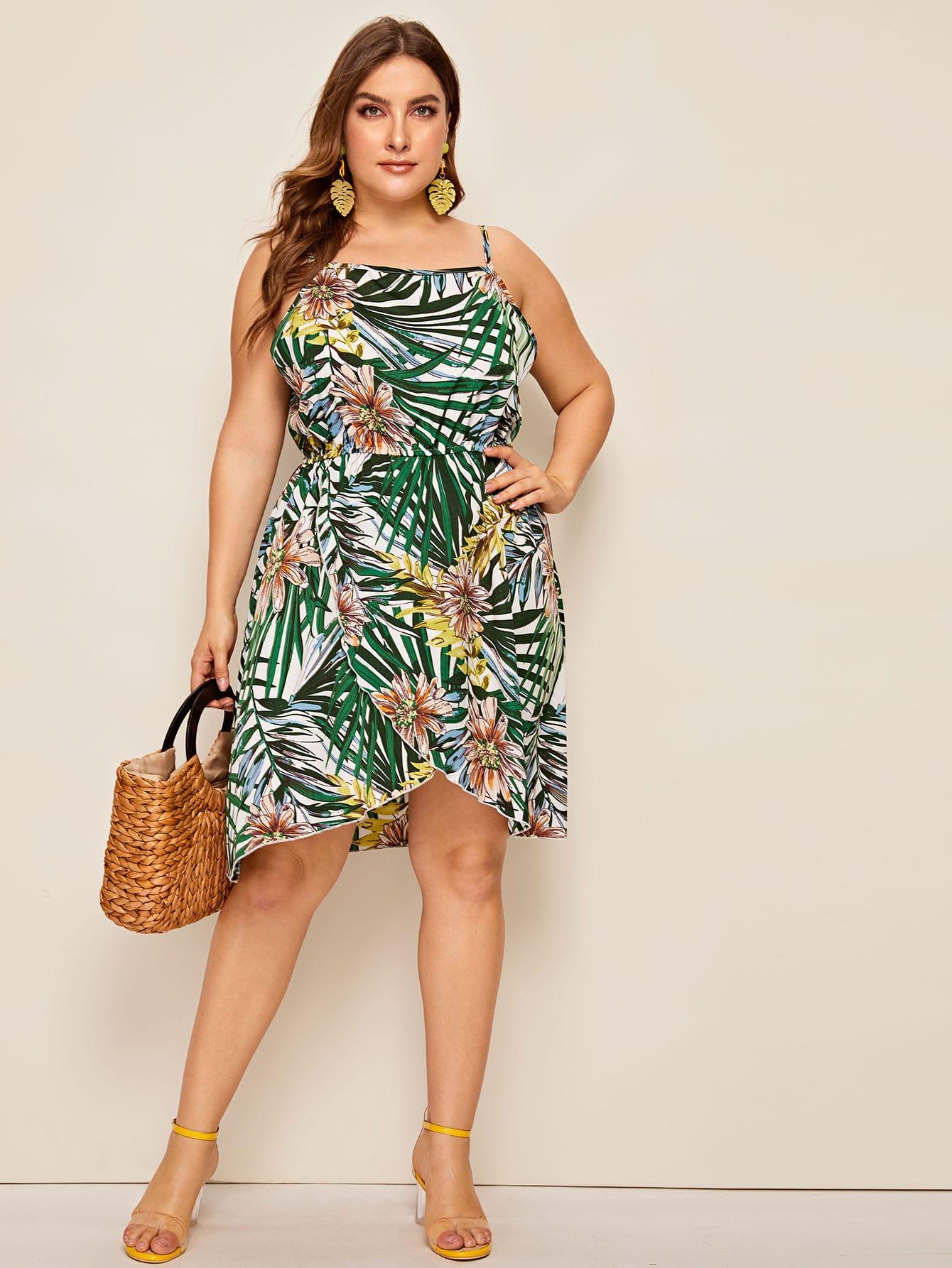Фото - Платье на бретелях с лиственным принтом размера плюс от SheIn цвет многихцветные