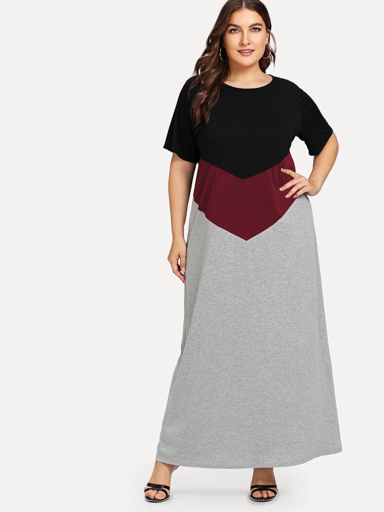 Контрастное длинное платье размера плюс
