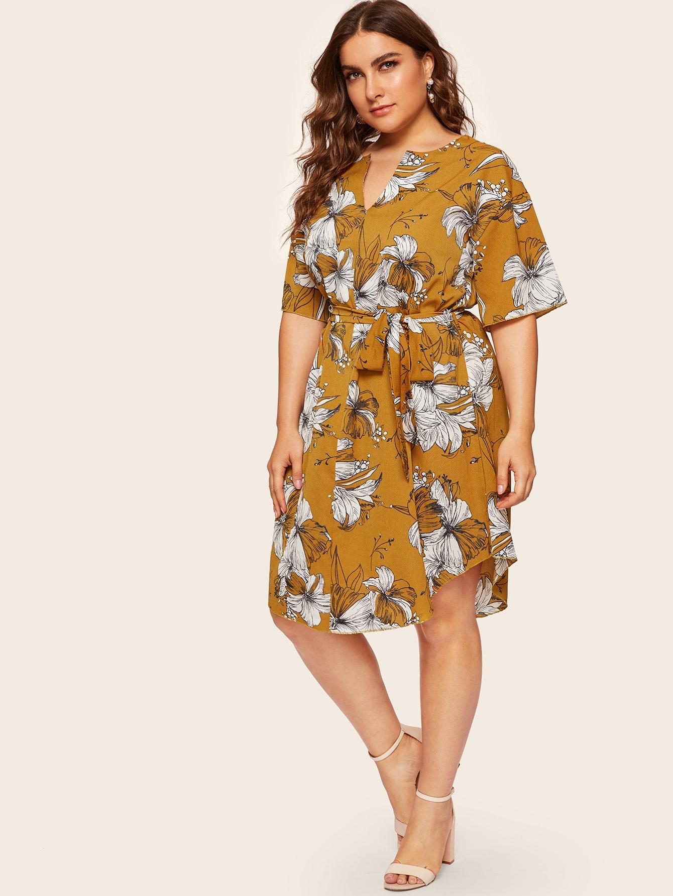 Фото - Платье размера плюс с цветочным принтом и поясом от SheIn цвет жёлтые