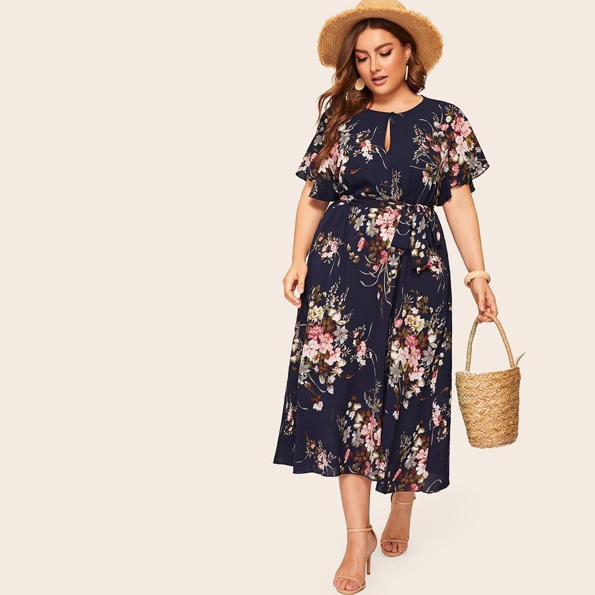 Veel kleurig Boho Bloemen Grote maten jurken Riem