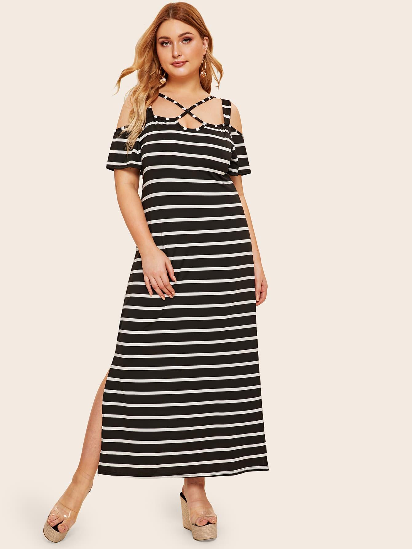 Фото - Полосатое платье с разрезом размера плюс от SheIn цвет чёрнобелые