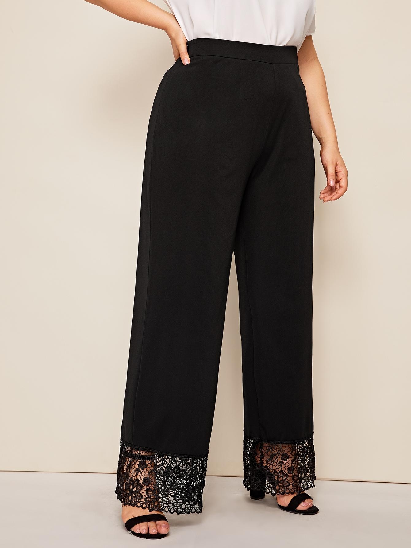 Фото - Широкие брюки размера плюс с кружевным низом от SheIn цвет чёрные