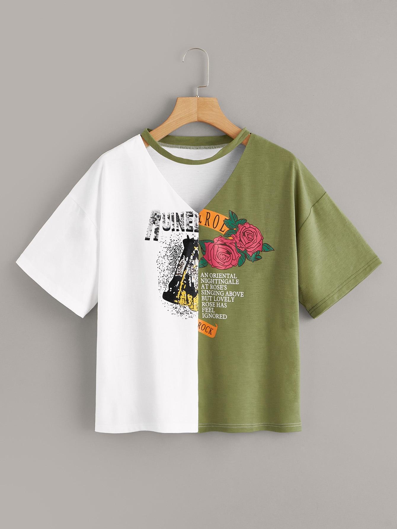 Фото - Двухцветная футболка с цветочным текстовым принтом от SheIn цвет многихцветный