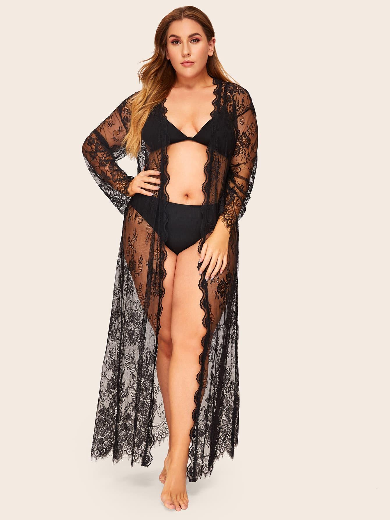 Фото - Прозрачный кружевной халат с оригинальной отделкой и поясом размера плюс от SheIn черного цвета