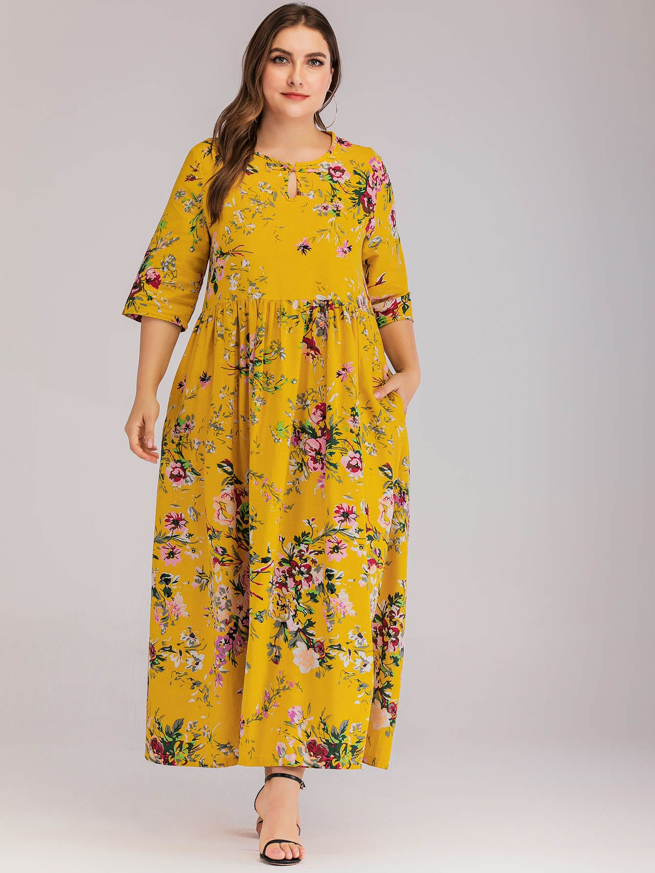 Фото - Длинное платье размера плюс с цветочным принтом от SheIn цвет жёлтые
